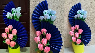 How To Make Paper Flower Bouquet // Easy Paper Rose Bouquet // Floral decoration
