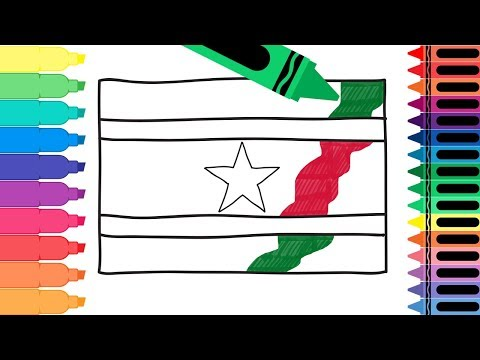 How to Draw Suriname Flag - Coloring Pages for kids - Drawing the Surinamese Flag | Tanimated Toys