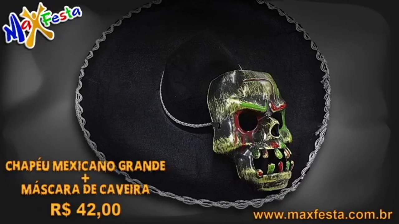 Acessórios Para Fantasias Caveira Mexicana e Mariachi - YouTube 436e22fcacc