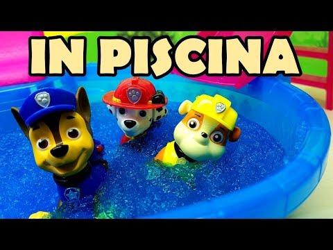 IL BAGNO IN PISCINA CON I PAW PATROL - Un tuffo nel Geli bath , Marshal , Chase e Rubble in acqua
