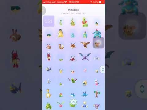 Pokemon Go Gen 1 & 2 Completed Pokedex Except Legendary Mew, Mewtwo, Delibird & Smeargle