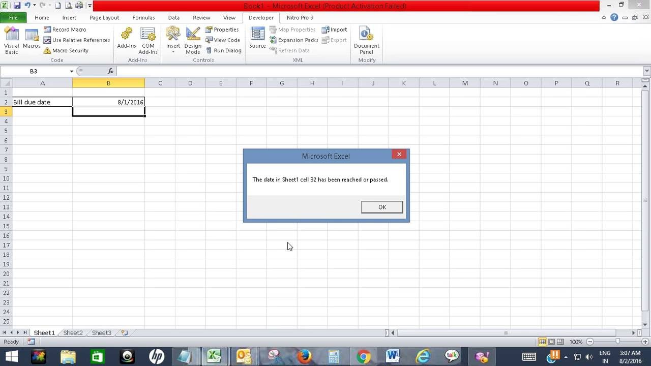 Get pop up window alert in Excel when a date is reached