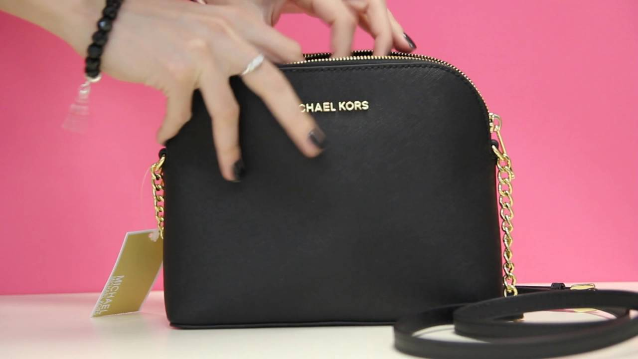 1f91ca999e9b9f Michael Kors Cindy Large Dome Crossbody Black - YouTube