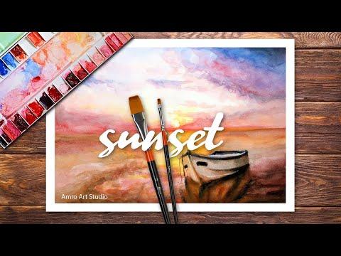 Watercolor painting of sunset cloud landscape o تعليم الرسم بالالوان المائية