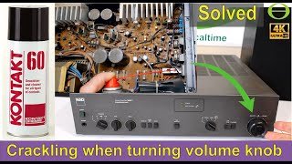 How to fix a crackling sound when you adjust the volume knob on your sound system.