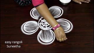 Free hand cute flowers || Simple muggulu || Easy rangoli designs || New kolams