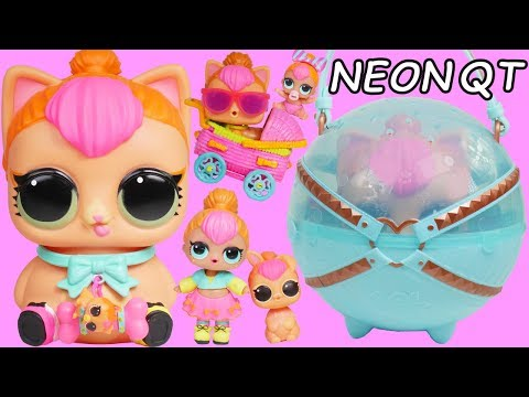 NEON QT BIGGIE PET LOL Surprise Dolls with Unicorn Family Dream House