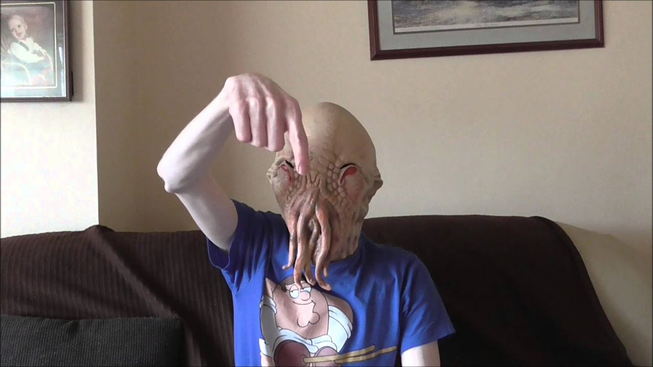 & Wearing my Dr Who Ood Latex Mask - YouTube