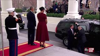 President Obama and First Lady Michelle Obama welcome Donald Trump and Melania Trump at White House