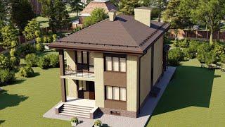 Проект дома 2 этажа с террасой