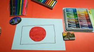 HOW TO DRAW THE FLAG OF JAPAN FOR KIDS STEP BY STEP
