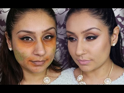 How to hide DARK circles blemishes with orange & green eyeshadow ...