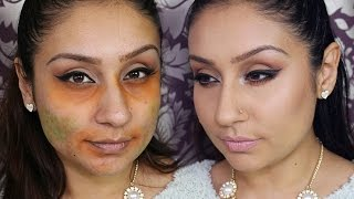 How to hide DARK circles blemishes with orange & green eyeshadow || Makeup With Raji