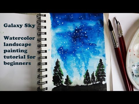 Galaxy sky watercolor painting tutorial | Simple landscape painting with watercolor for beginners