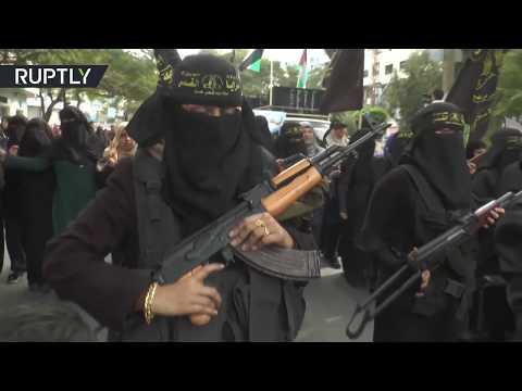Armed Women From Islamic Jihad Protest Trump, Burn USA & Israeli Flags