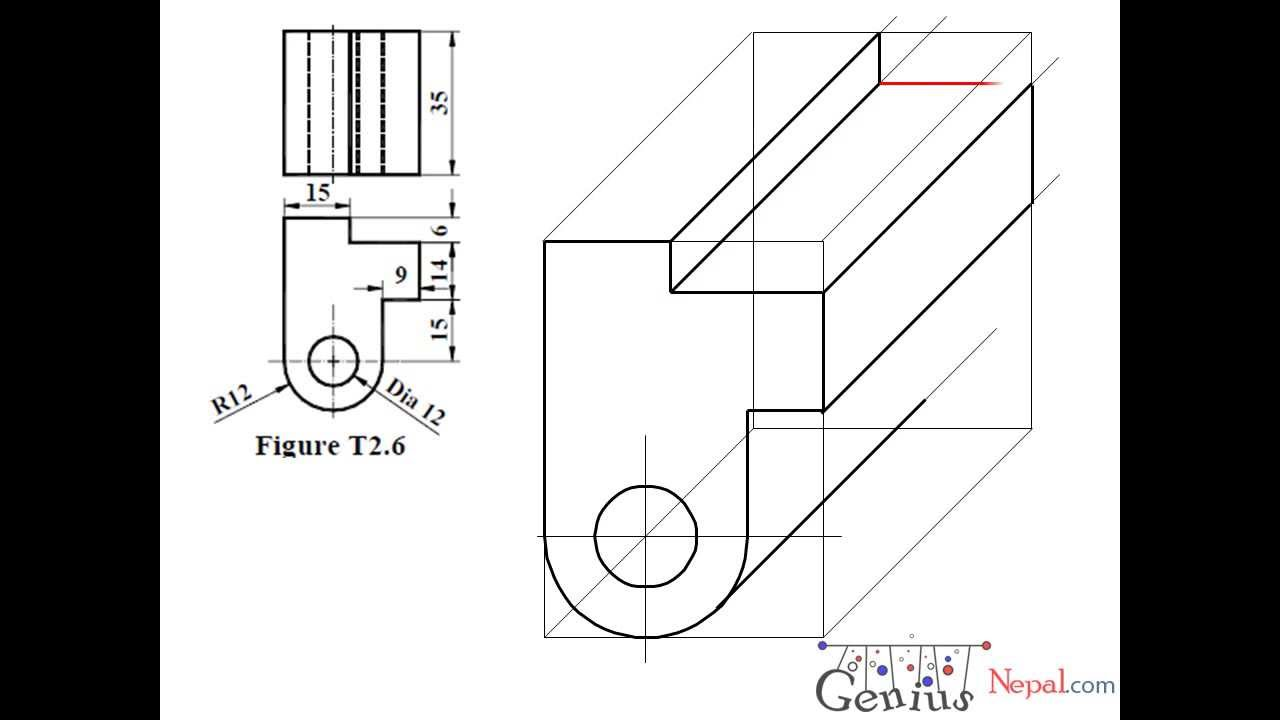 Engineering Drawing Tutorials/Oblique drawing with front