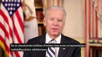 Yhdysvaltain varapresidentti Joe Bidenin onnittelutervehdys sata vuotta täyttävälle Suomelle