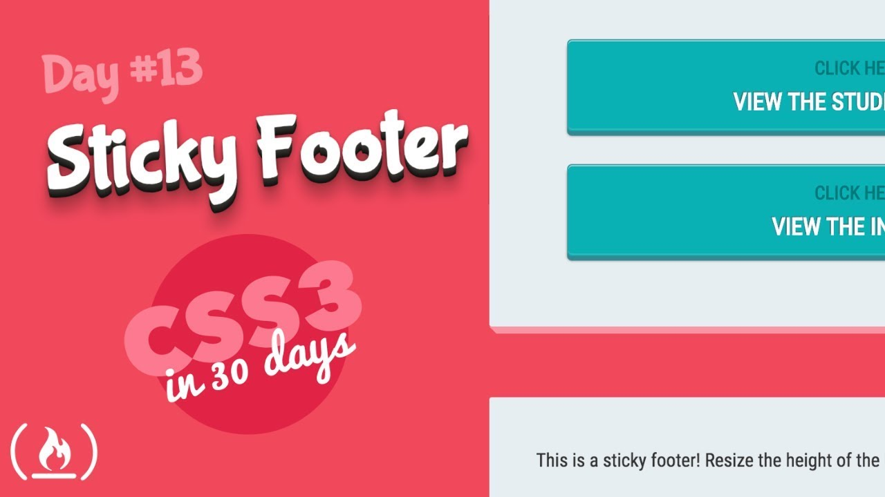 Sticky Footer: CSS Tutorial (Day 13 of CSS3 in 30 Days)