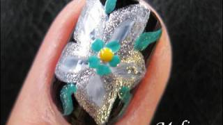 Flower Nail Art Tutorial - Space Lily Silver White Floral Design For Short Nails Homemade Diy Easy