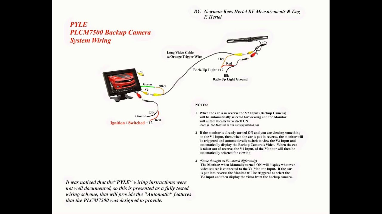 clarion reverse camera wiring diagram pyle plcm7500 wiring - youtube reverse camera wiring diagram 4 pin