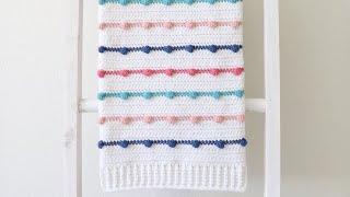 Crochet Bobble Lines Baby Blanket