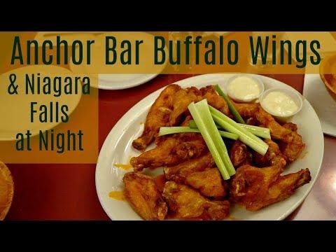 Anchor Bar Buffalo Chicken Wings & Niagara Falls At Night - Buffalo Roadtrip