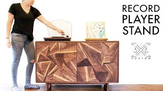 Geometric Veneer Record Player Stand - Wood Veneer WITHOUT a Vacuum Press