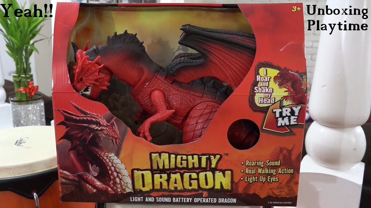 dinosaur and dragon toys mighty dragon w light and sound unboxing