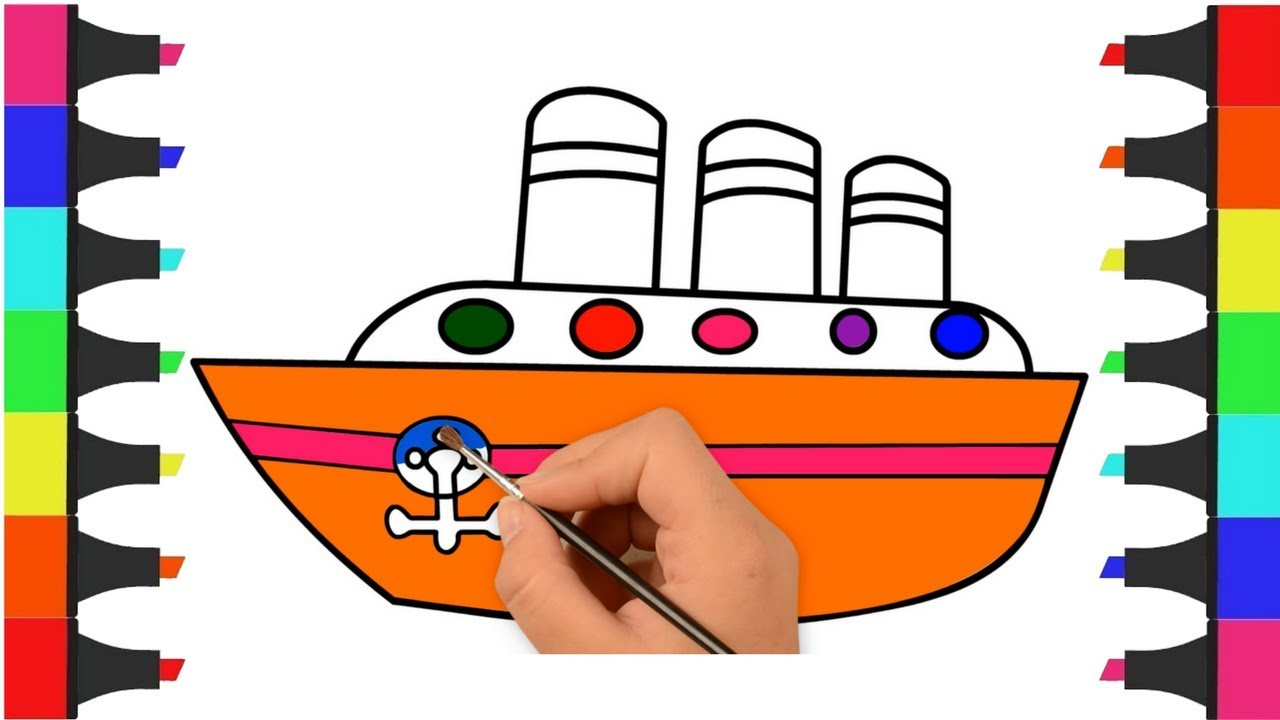 Boat Coloring Pages For Kids Learn Colors For Children Toddlers
