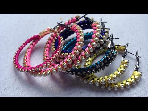 How to make silk thread hoop earrings at Home    DIY hoop earrings    jewellery art studio
