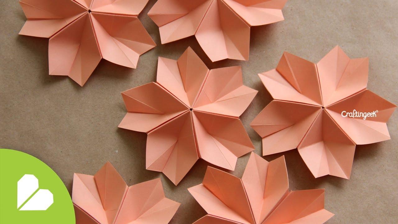 Sakura modular decorativa flor de papiroflexia how to - Como hacer flores ...