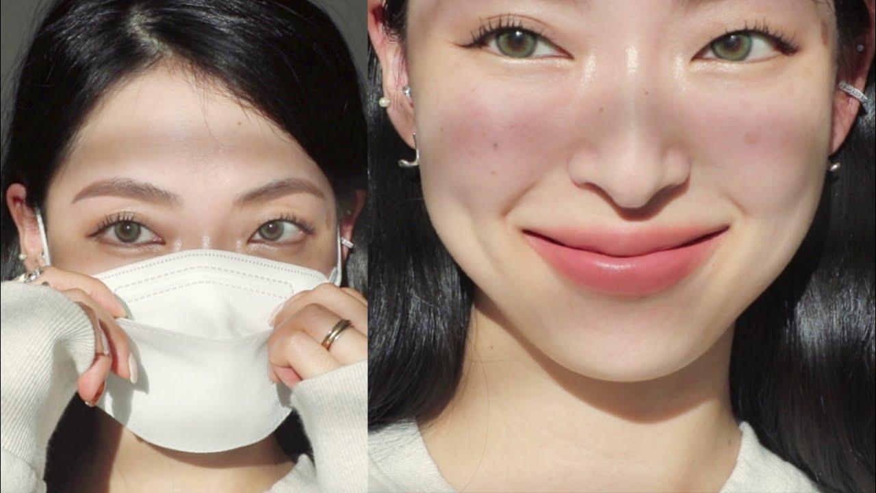 😷 Skincare \u0026 No Foundation Mask Make-up   한겹 스킨케어 추천 \u0026 노파데 마스크 메이크업 ✨