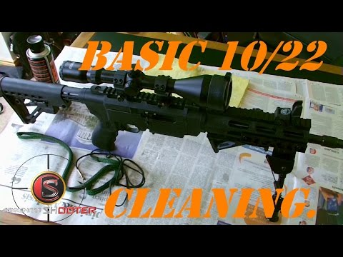 HOW TO DO A BASIC/SIMPLE CLEAN OF A RUGER 10/22 RIFLE WITH A BORE SNAKE.