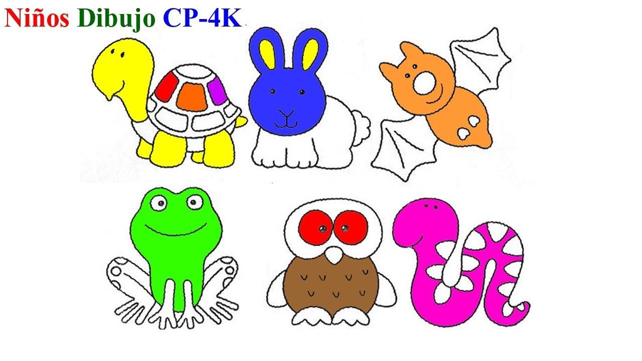 Animales para colorear | Cómo dibujar animales Tortuga linda,conejo ...