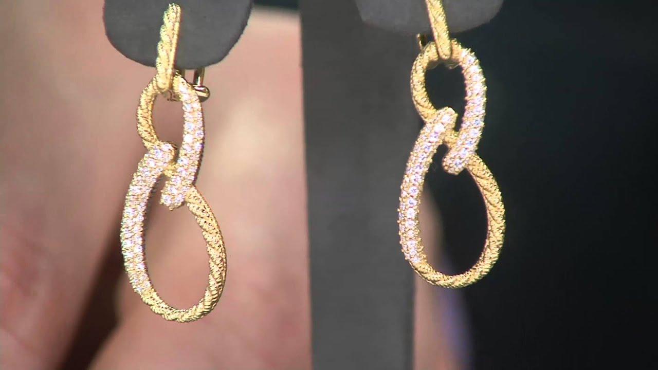 Judith Ripka Sterling Silver Or 14k Clad Diamonique Twist Earrings On Qvc
