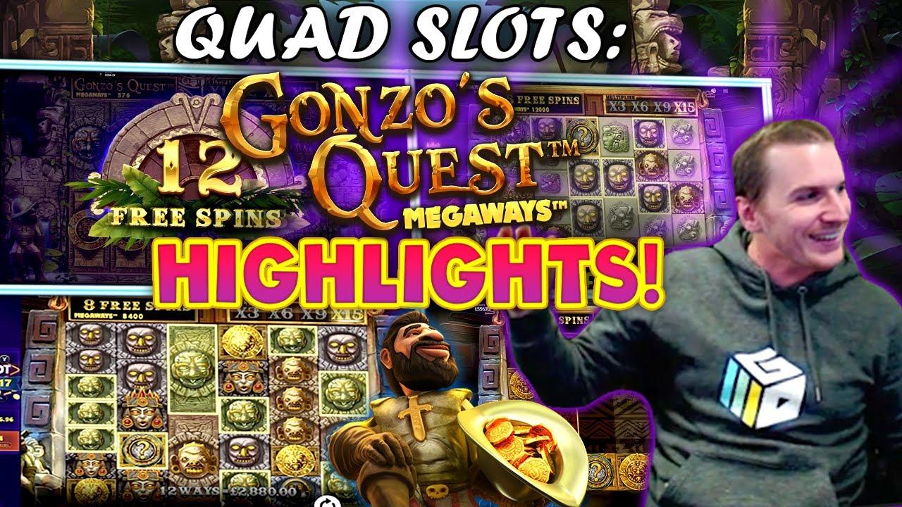 Gonzo's Megaways Slot Quads - 5 Bonuses with INSANE WIN! - BIG CASHOUT!