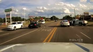Police Chase stolen truck and house ends in collision.