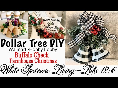 3 DIY DOLLAR TREE • WALMART • BUFFALO CHECK FARMHOUSE CHRISTMAS DECOR