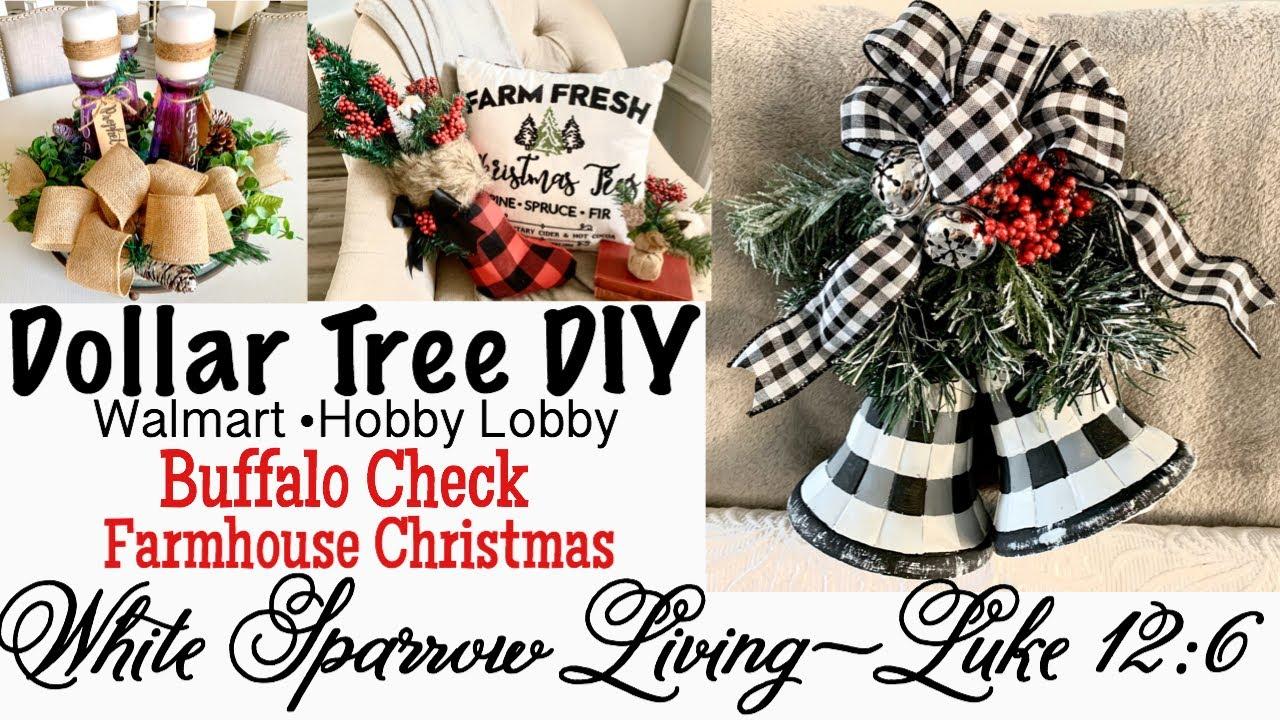 3 Diy Dollar Tree Walmart Buffalo Check Farmhouse Christmas Decor Youtube