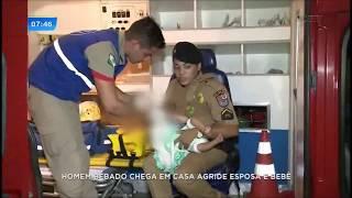 Pai bêbado joga bebê de nove meses no chão e agride esposa e enteada