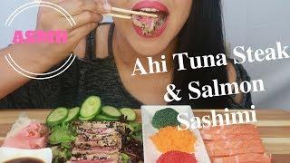 ASMR - Ahi Tuna Steak & Salmon Sashimi Eating Sounds (No Talking)