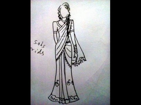 How To Draw Indian Dress Saree Easily Sketches Design Youtube