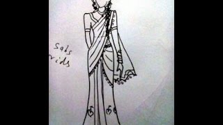 How to draw Indian dress.saree easily.sketches design.