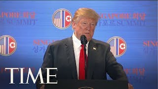 president donald trump holds press conference after historic summit with kim jong un time