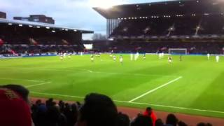 Andy Carroll celebrations in crowd after goal westham Swans