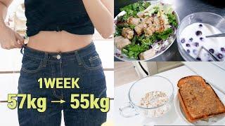 다이어트 브이로그 1주차 57.2→55.5kg, 한예슬…