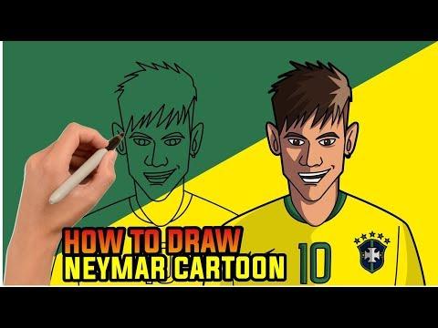 How To Draw Neymar Cartoon - Step By Step Drawing Tutorial , Brazil Football Team