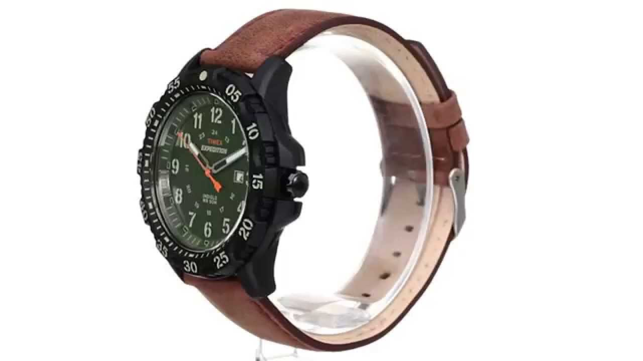 78a5b5fb37c0 Timex Expedition Rugged Resin Dial Leather Strap Watch SKU 8501272 - YouTube