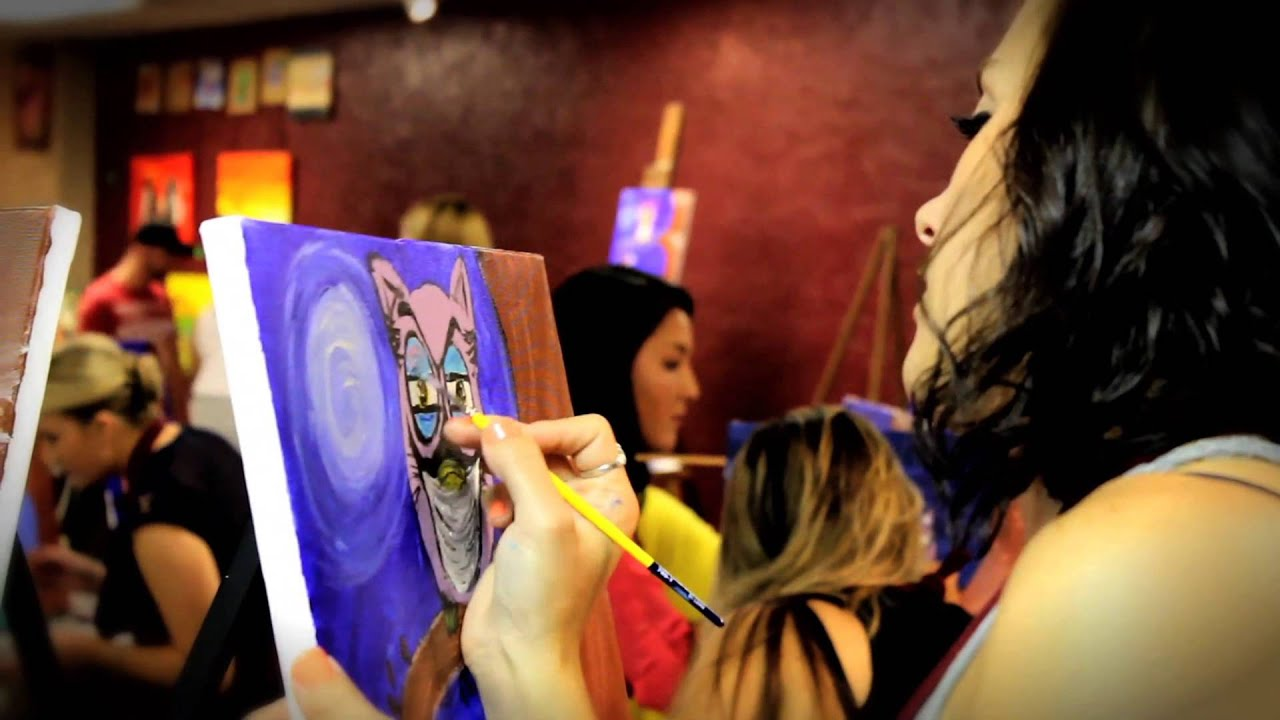 A painting party at the emerald cork wine and paint studio for Painting and wine