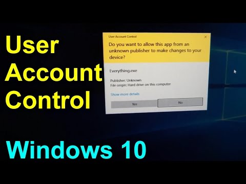 How to disable User Account Control UAC under Windows 10